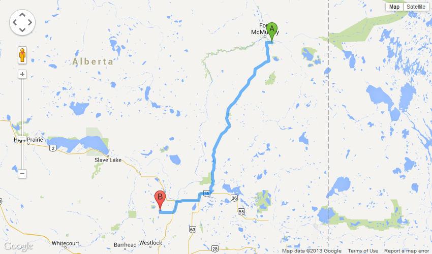Fort McMurray (AB) Canada  city photo : From Fort McMurray : Driving Directions : Location : Athabasca ...